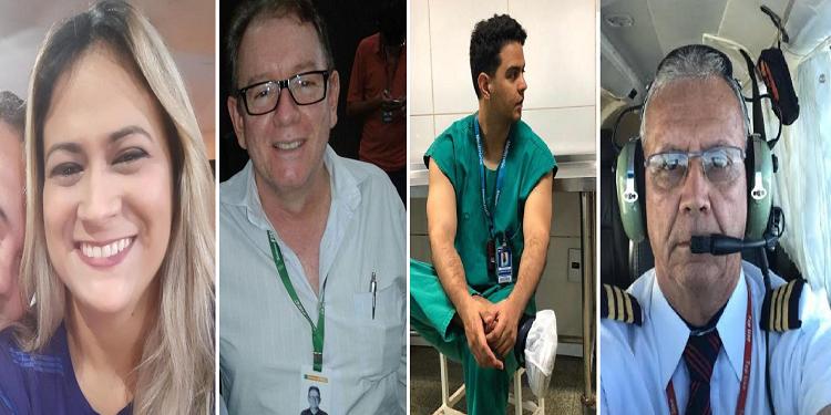 Vítimas do acidente aéreo no Ceará: enfermeira Samara, médicos Pedro Meneses e Carlos Victos e o piloto Paulo César